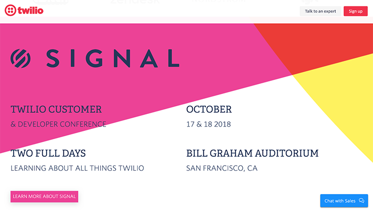 twilio signal conference advertised on their main website